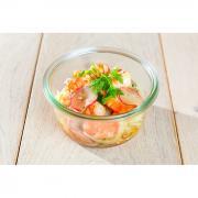 Salade de crevettes pommes gingembre radis