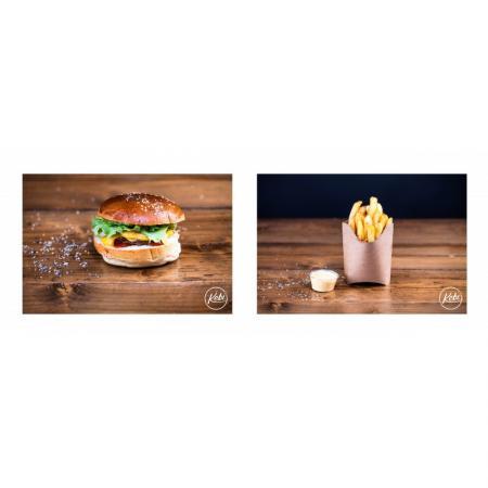 Menu pour les petits. Burger 80g, Frites, Boisson